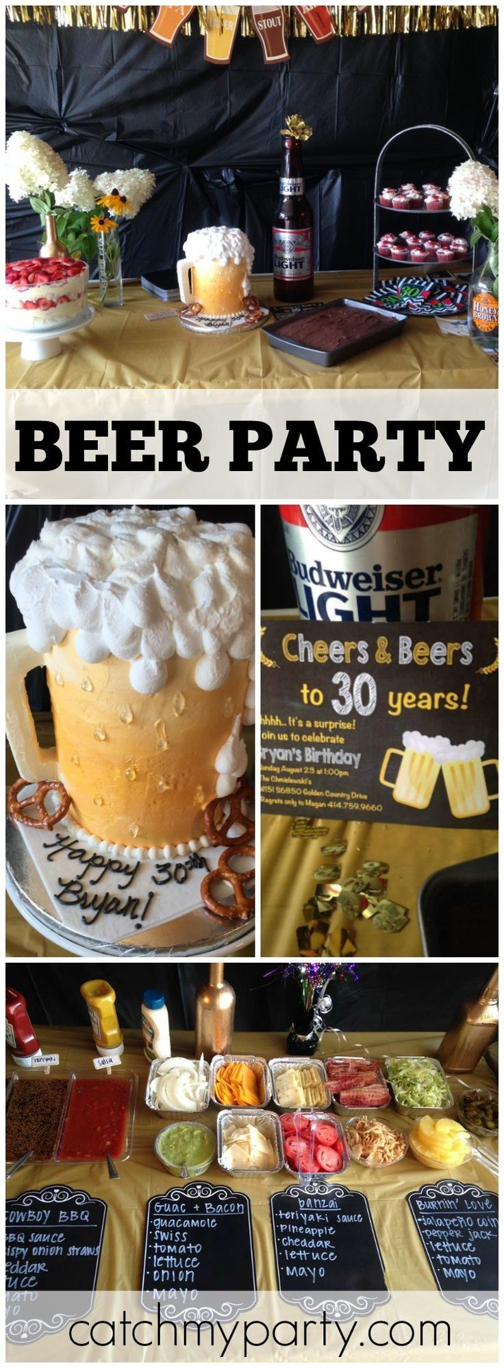 Beer is the theme for this 30th birthday party! See more party ideas at CatchMyParty.com!