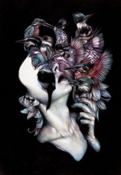 """Marco Mazzoni, """"Kalós, éidos, scopéo""""2012, colored pencils on paper, cm 65x45"""