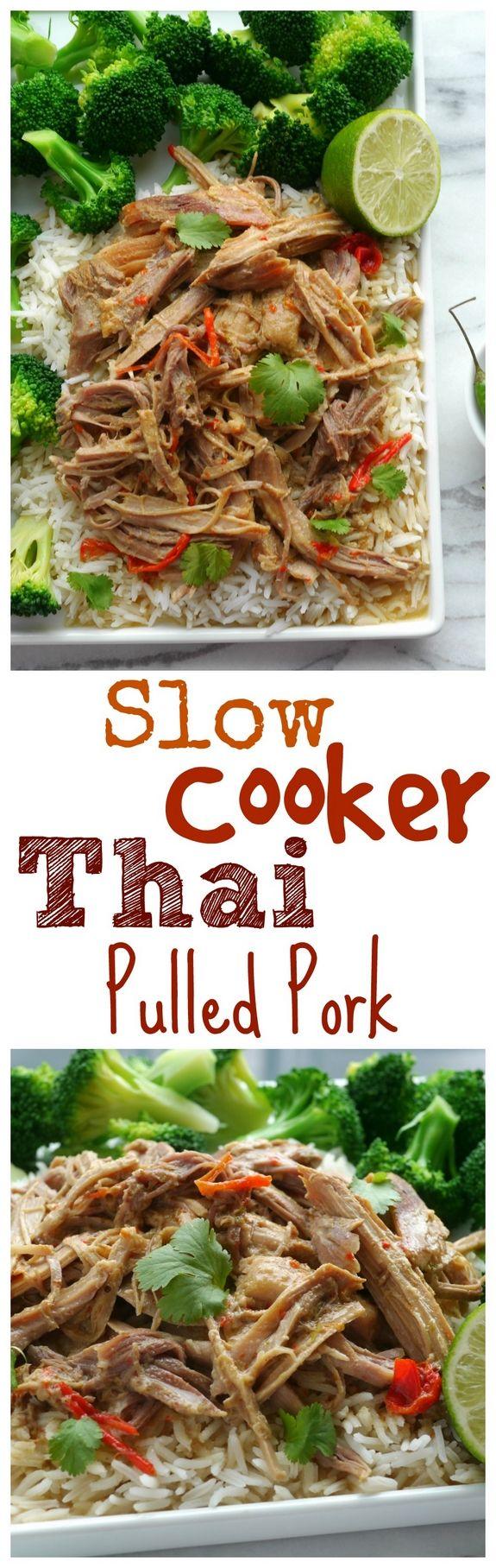Slow Cooker Thai Pulled Pork from NoblePig.com