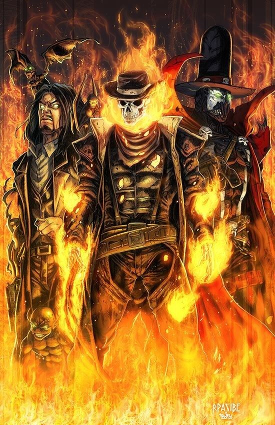Darkness, Western Ghost Rider and Gunslinger Spawn by Ryan Pasibe