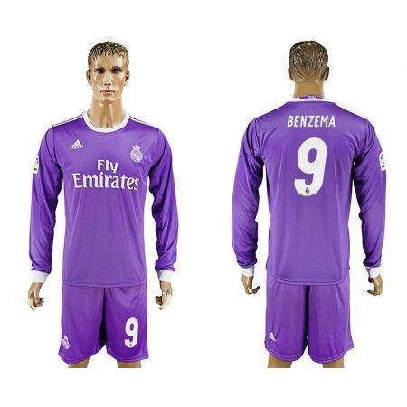 Real Madrid 16-17 Karim #Benzema 9 Bortatröja Långärmad,304,73KR,shirtshopservice@gmail.com