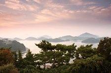 A pre-sunrise view from Dala Park on Mireukdo (Mireuk Island) in Tongyeong City, Gyeongsangnam-do Province, Korea