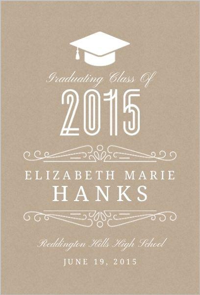 Classy Kraft Graduation Announcement by InviteShop.com. #graduationpartyinvitations #graduation #announcements