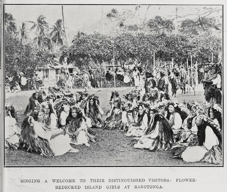 Showing flower bedecked island girls at Rarotonga singing a welcome to the Vice Regal party during the visit to the Cook Islands.Sir George Grey Special Collections, Auckland Libraries, AWNS-19140709-51-2 '