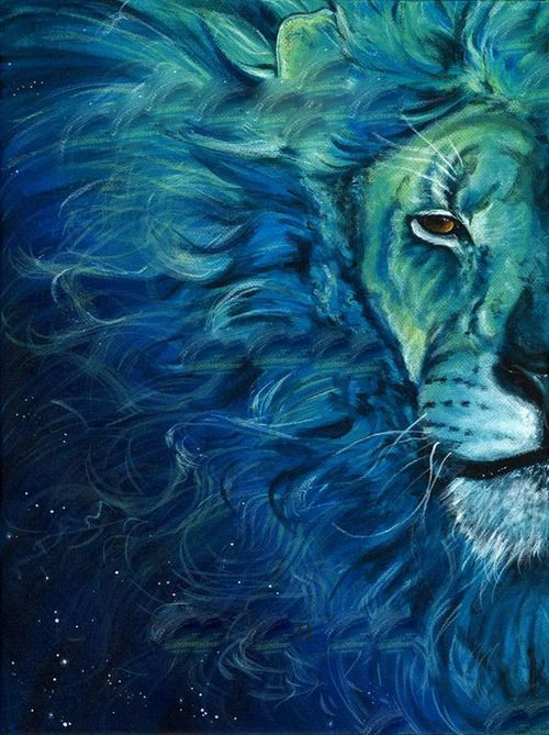 blue and green lion.  Longboard deck idea.