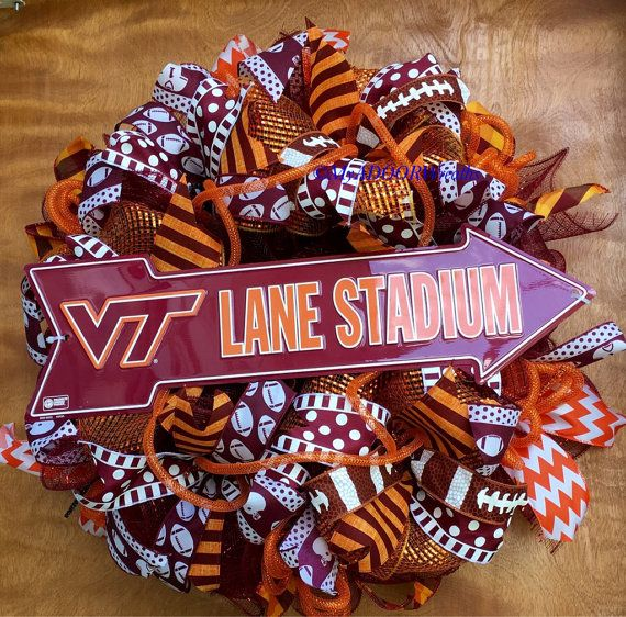 Check out this item in my Etsy shop https://www.etsy.com/listing/464488078/virginia-tech-wreath-vt-football-wreath
