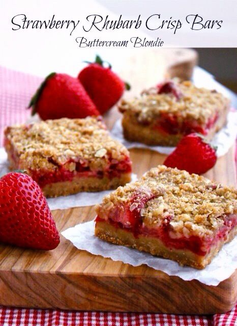 Strawberry Rhubarb Crisp Bars - These gems are loaded with juicy strawberries & rhubarb baked on top of shortbread, all tucked under a blanket of crisp topping! | buttercreamblondie.com