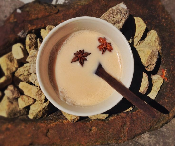 morning chai with almond milk, vanilla and anise stars <3
