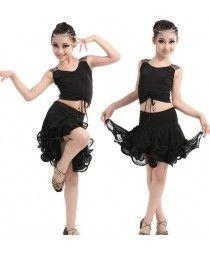 Black leopard patchwork sleeveless girls kids child children gymnastics performance latin salsa cha cha dance wear dance dresses
