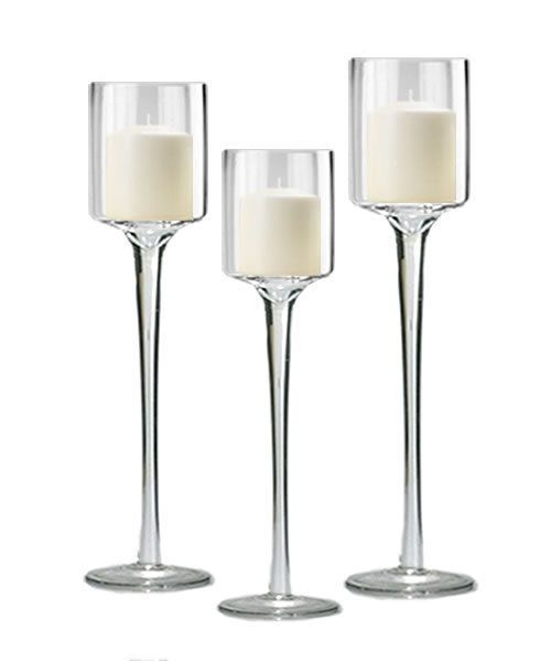 Tall Glass Candle Holder Set of 3 for Wedding Party Decoration