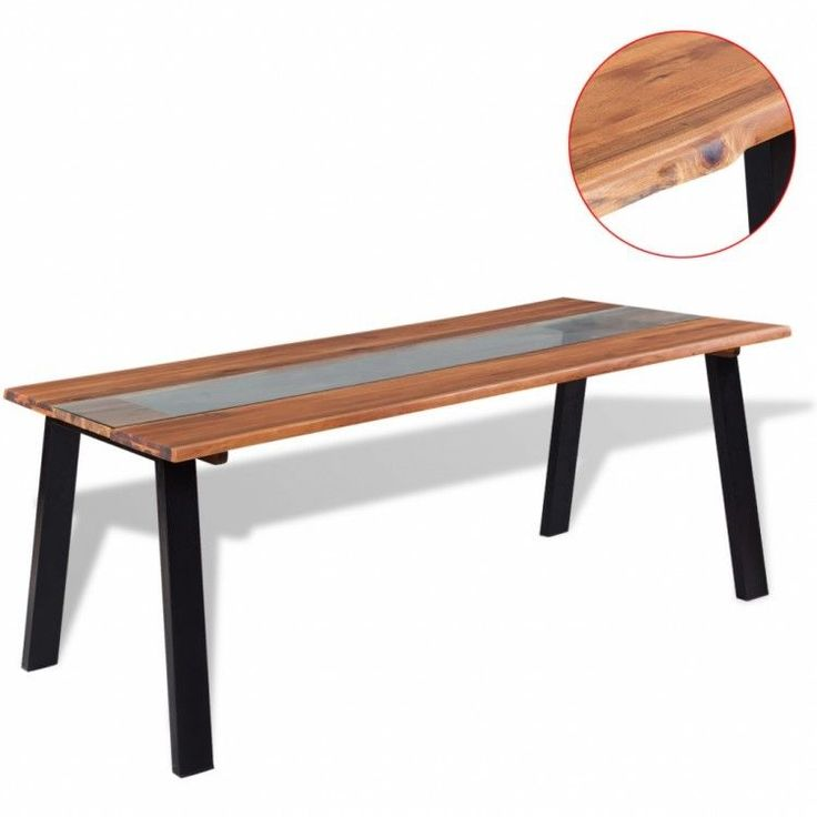 Modern Home Dining Table Rectangular Wooden Glass Brown Black Furniture Kitchen #ModernHomeDiningTable