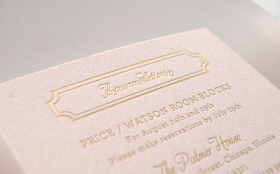 Oh So Beautiful Paper: Lindsey + Bradley's Elegant Pink and Gold Foil Wedding Invitations