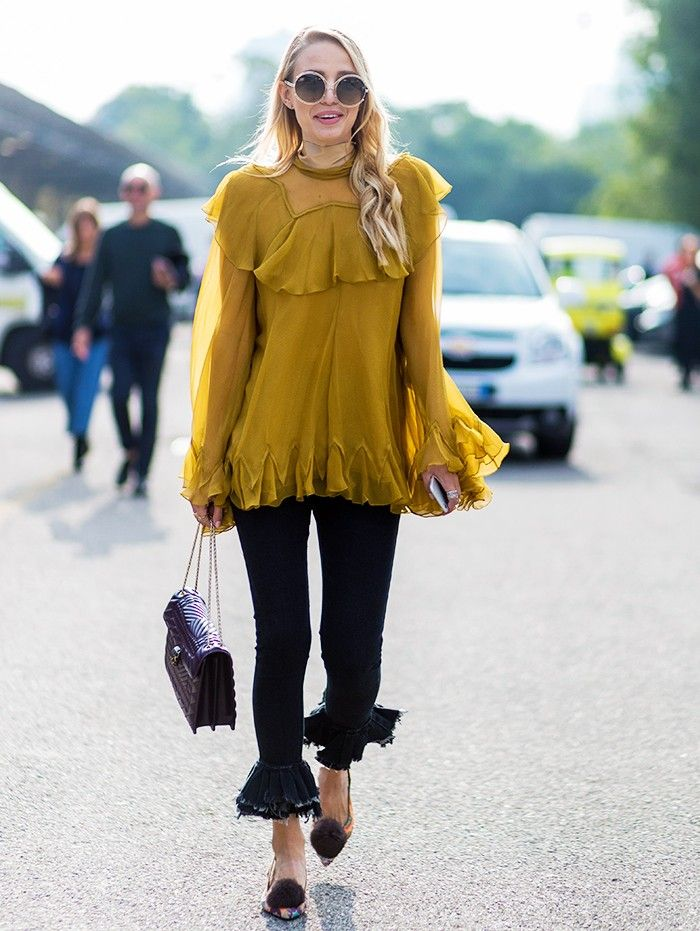 12 Outfits That Prove This Is THE Colour to Be Wearing Right Now via @WhoWhatWearUK  Style Notes: This Chloé blouse is so ethereal that it benefits from being worn in a tougher way—black denim is a very good place to start.