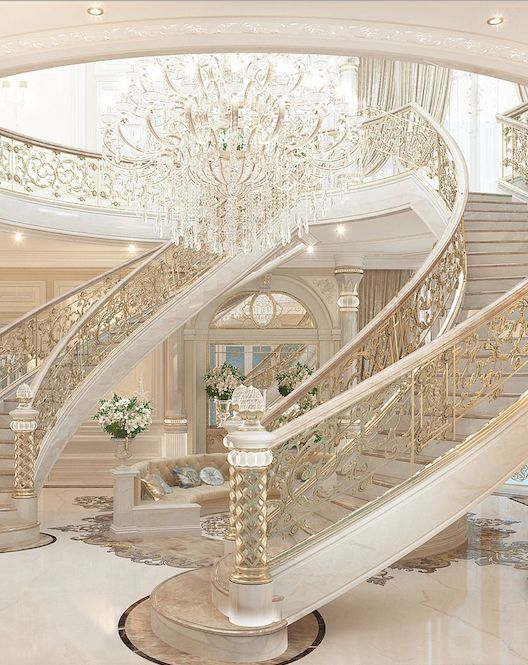 Beautiful #WhiteandGold Double-Staircased Mansion Interior Luxury Grand Foyer