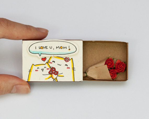"Mother's Day Card/ Cute Mothers Day Gift/ Mom's Birthday Card/ Gift for Mom/  ""I love you mom"" Matchbox/ Cat Mother Card"