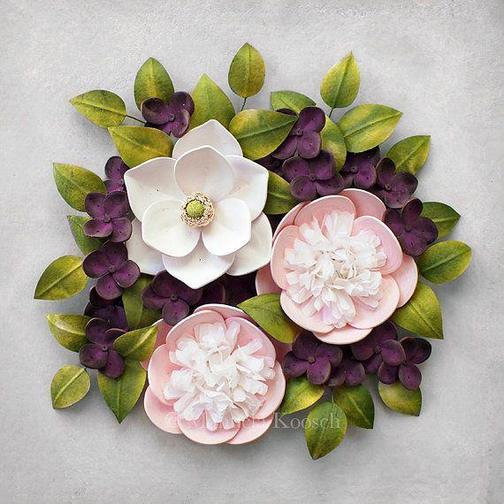 Pink Peony White Magnolia Purple Hydrangea Wall Art 1st Anniversary Gift For Her Girl Nursery Decor 3d Paper Art Botanical Decor Hydrangea Wall Art Botanical Decor Paper Quilling