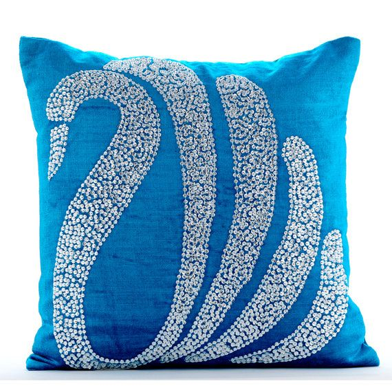 Turquoise Decorative Pillows for Bed 18x18 by TheHomeCentric
