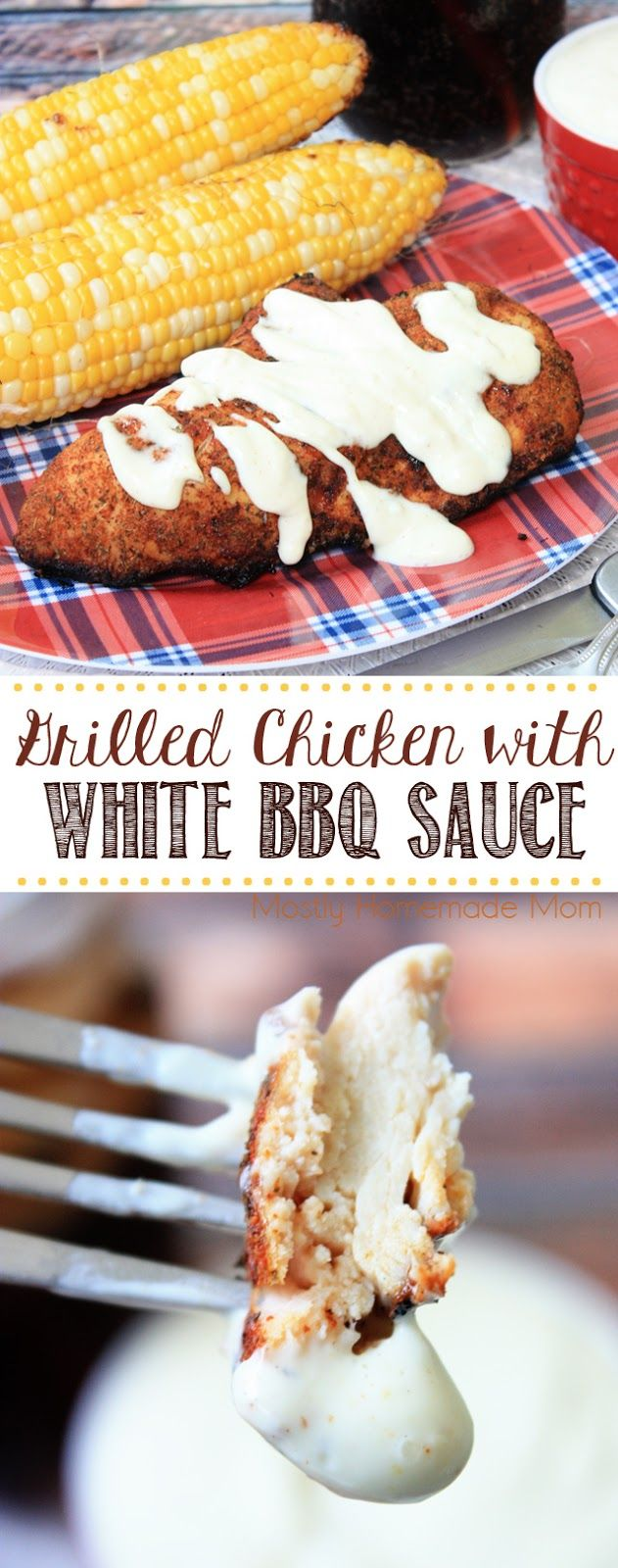 Grilled Chicken with White BBQ Sauce - the hit at your next cookout! Perfectly grilled chicken and a tangy white bbq sauce for dipping, yum!!