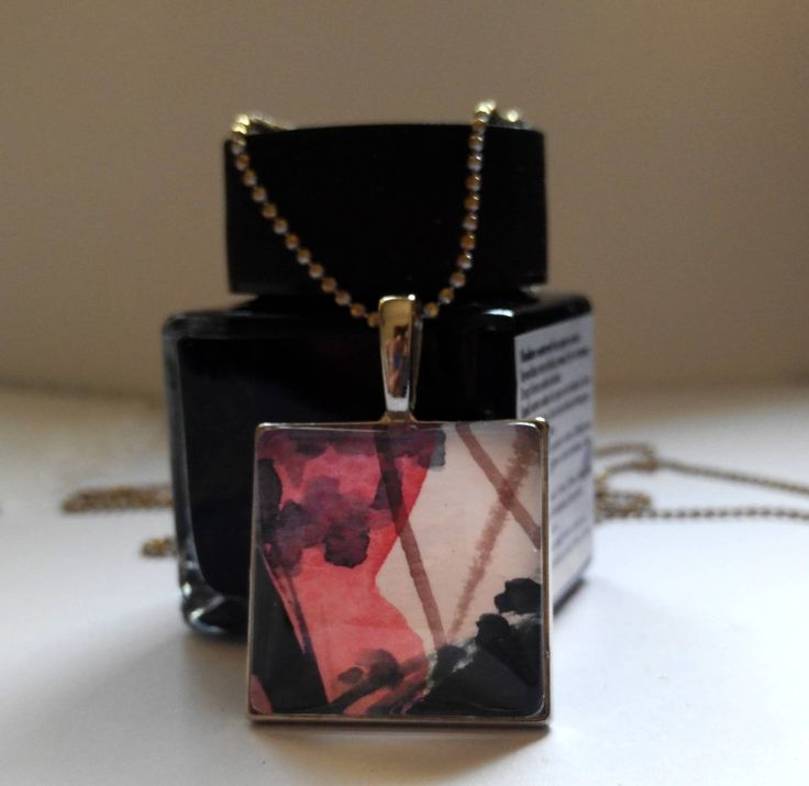 Pendant with watercolour artwork by MeliesTreasures on Etsy