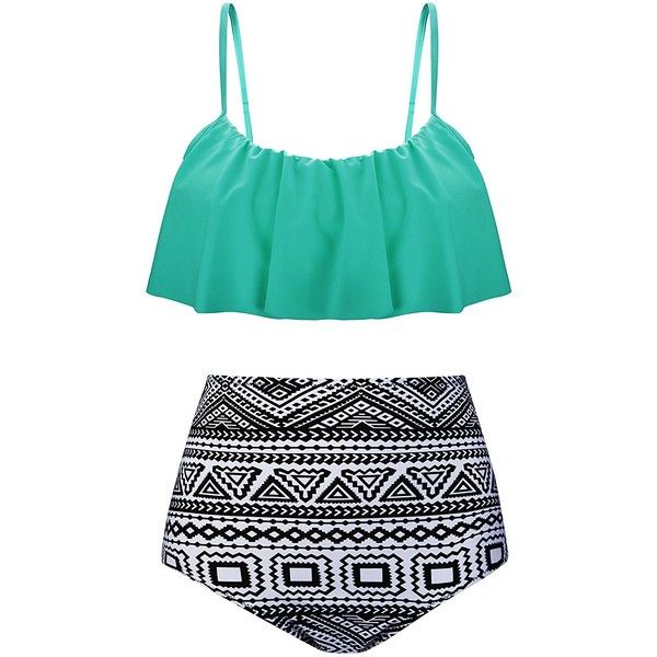 Angerella Womens High Waisted Bikini Ruffled Top Bathing Suits... ($26) ❤ liked on Polyvore featuring swimwear, bikinis, bathing suits bikini, ruffle bikini, high waisted bikini, high waist bikini swimsuit and swim suits