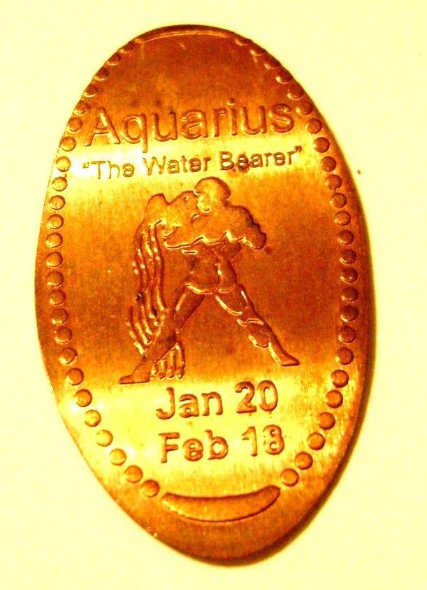 Elongated Penny Coin ZODIAC - AQUARIUS The Water Bearer JAN 20 - FEB 18 -COPPER