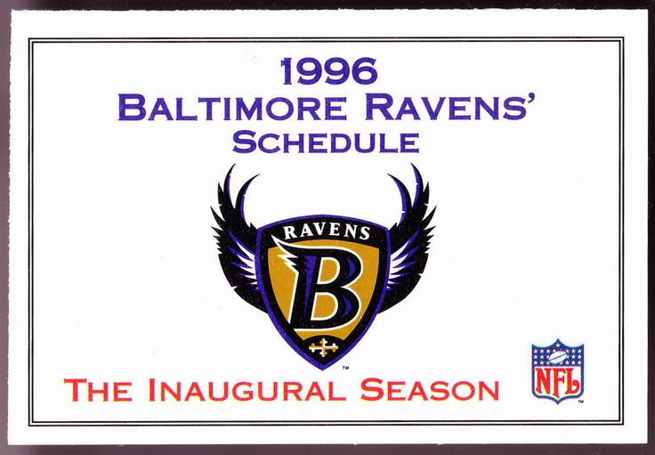 1996 BALTIMORE RAVENS INAUGURAL SEASON FOOTBALL POCKET SCHEDULE FREE SHIPPING #Pocket #BaltimoreRavens