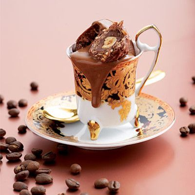 Steamed coffee-and-chocolate puddings with truffles