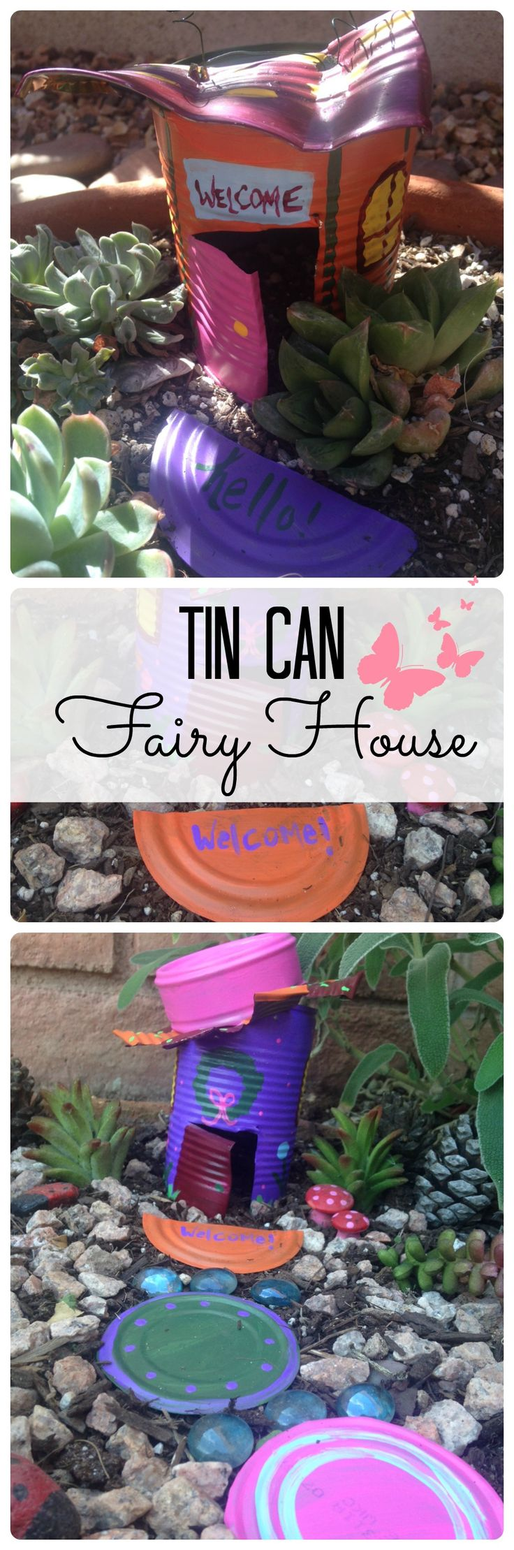 Save those tin cans! Create your garden's cutest, custom fairy house from a tin can using craft paints, floral wire. #fairygarden #gardenideas #tincancrafts #springday