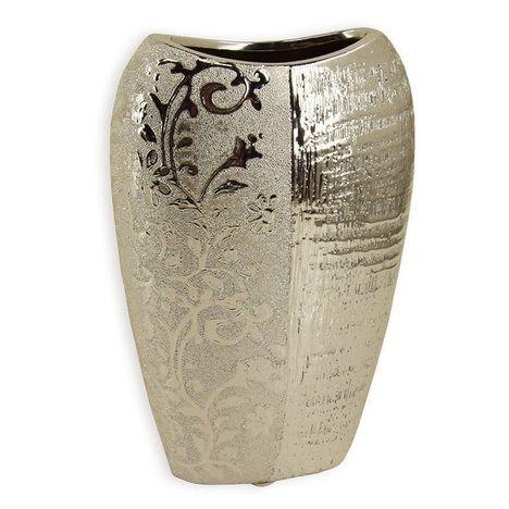 Vase - silber - Keramik - Blumendekor - 22 cm
