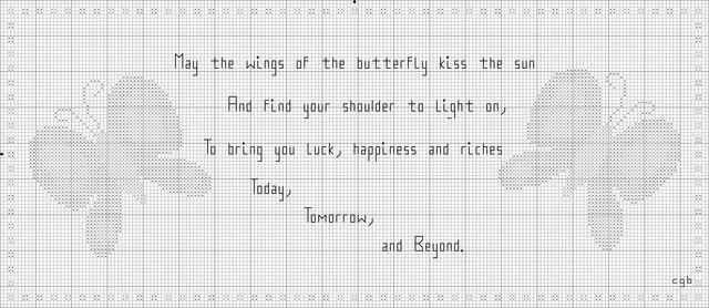 Free Butterfly Blessing Cross Stitch Pattern: Free Combined Butterfly Blessing Cross Stitch Pattern
