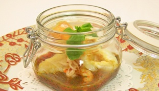 Fish soup flavoured with basil