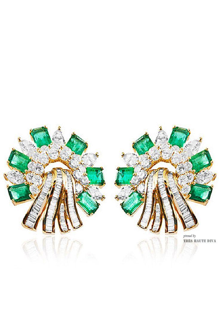 Farah Khan Zambian Emerald and White Diamond Earrings