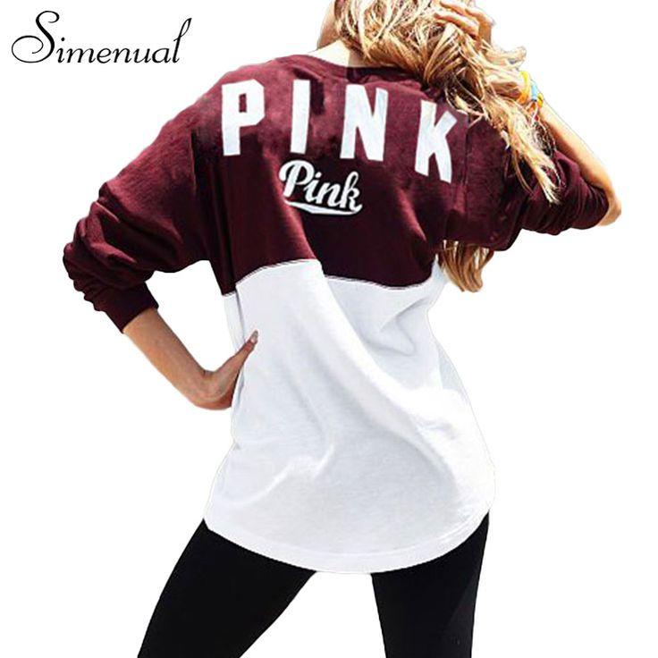 Casual new 2016 pink letter autumn sweatshirt female clothes patchwork slim loose women hoodies sweatshirts pullover svitshot