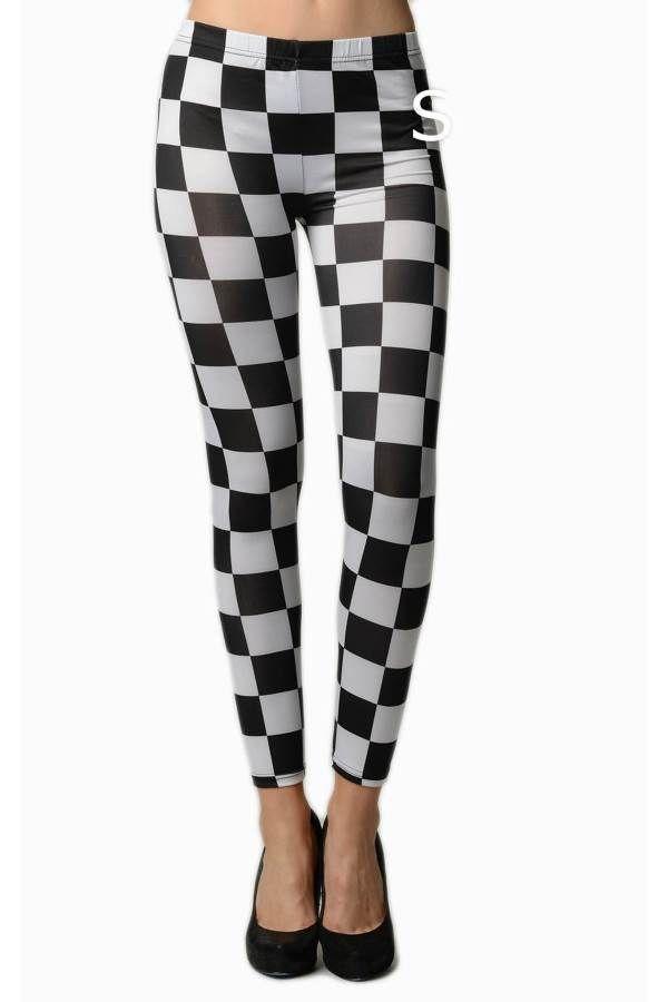 65c55ebfb56426 Black & White Checkered Leggings | Products | Women's leggings ...