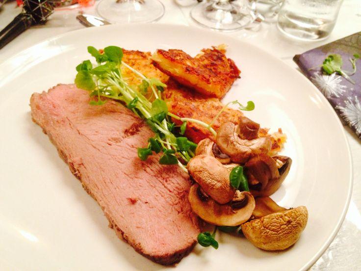 veal, rösti potatoes, mushrooms and wiskey sauce