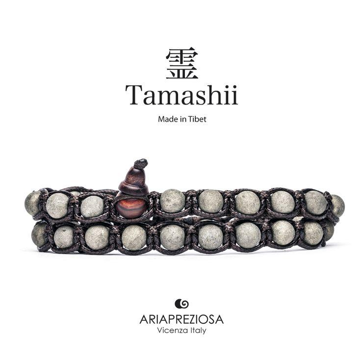 Tamashii - Bracciale Lungo Tradizionale Tibetano 2 giri Pirite Satinata