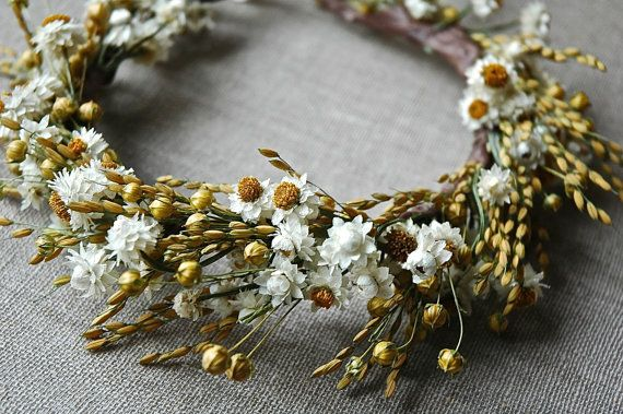 Daisiy Bridal Flower Crown of Daisies and  Dried Flowers for Brides, Bridesmaids, Flower Girls $65