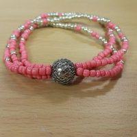Gelang Manik Pasir Pink Handmade