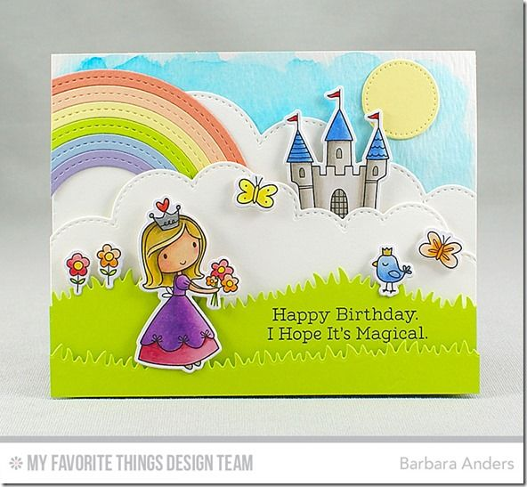 Once Upon a Time Stamp Set and Die-namics, Stitched Rainbow Die-namics, Stitched Cloud Edges Die-namics, Blueprints 21 Die-namics, Grassy Hills Die-namics - Barbara Anders  #mftstamps