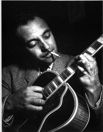 Portrait of Django Reinhardt, ca. Nov. 1946, Aquarium, New York, N.Y. Photo by William Gottlieb. Reinhardt was the first important European jazz musician who made major contributions to the development of the guitar genre.