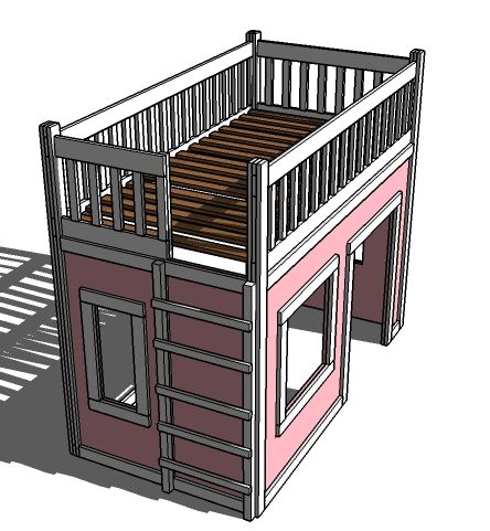 playhouse loft bed easy--Ana White DIY project.  SOOO CUTE!!!! there's all sorts of kids loft beds with play areas beneath.