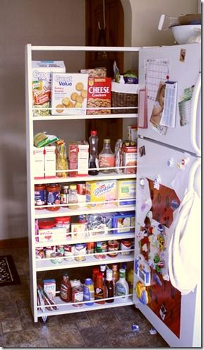 DIY pull out pantry cabinet. This could be a thought for sizing the frig  hole for or larger frig