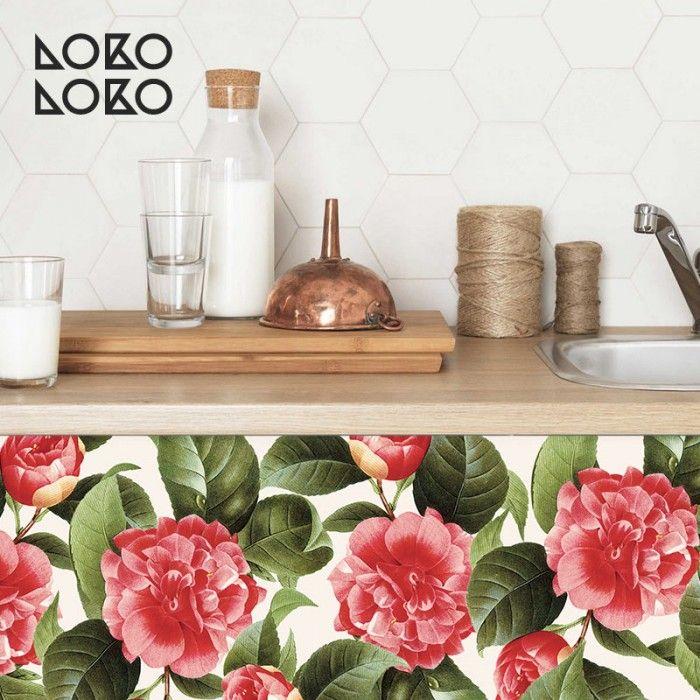 Vinilo dcorativo para frentes de cocina con estampado de flores peonias rojas #lokolokodecora