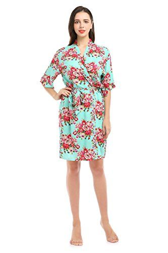 21981bbf69c YueQiW Women s Rayon Cotton Short Floral Wedding Nightgown - Bridesmaids  Dressing Robe