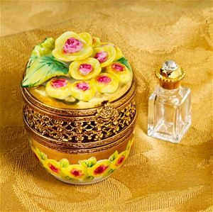 """""""Limoges Yellow Roses Symphony Round Box with Bottle"""" - """"The Cottage Shop."""