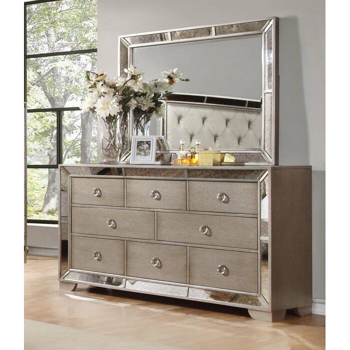 Modern Contemporary Accent Mirror In 2020 Dresser With Mirror Mirrored Bedroom Furniture Mirrored Dresser Bedroom