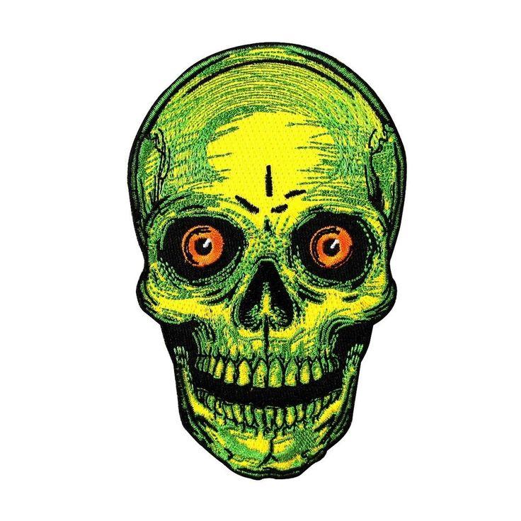 Creepy Skull Face Patch Kreepsville Scary Halloween Craft Decor Iron-On Applique #Unbranded