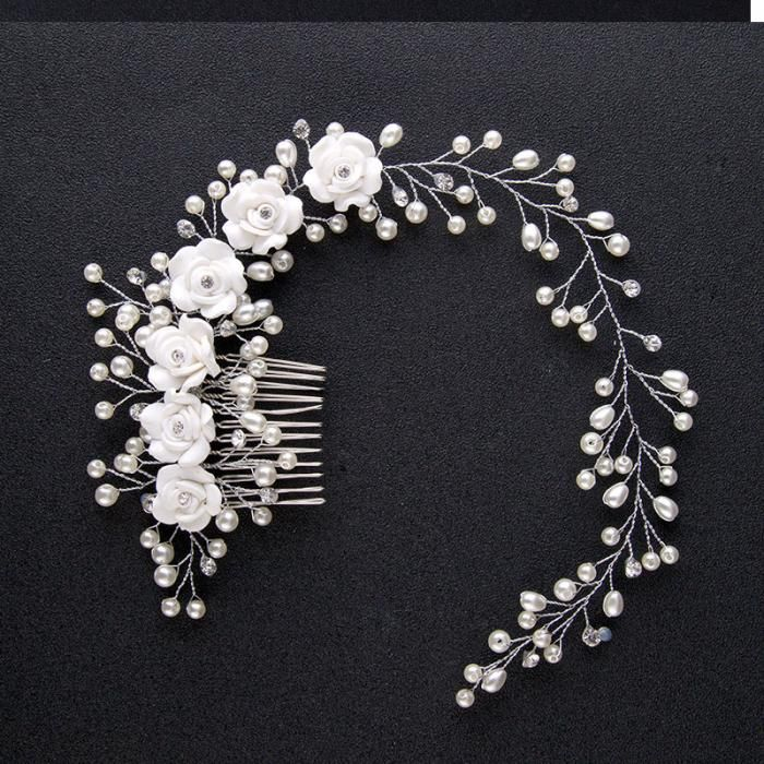 Jóia Do Cabelo Do Casamento de luxo Para Noivas Branco Puro Flores Feitas À Mão Das Mulheres Acessórios Para o Cabelo Pérola Cabelo Pente Cocar Alongar SL em Jóia do cabelo de Jóias & Acessórios no AliExpress.com   Alibaba Group