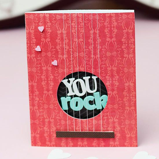 """Make this """"You Rock"""" card for someone special this Valentine's Day. Instructions: http://www.bhg.com/holidays/valentines-day/cards/handmade-valentines-cards/?socsrc=bhgpin021313yourock=6"""