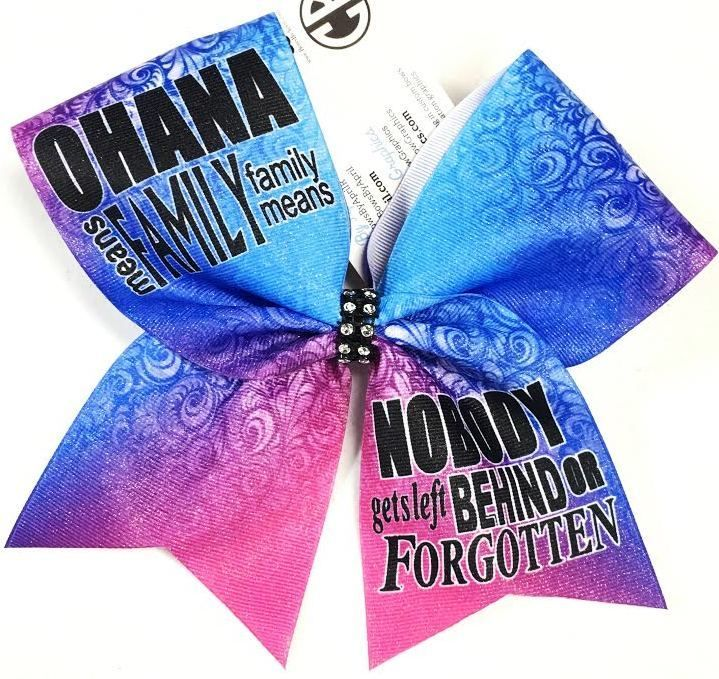 Bows by April - OHANA Means Family Sublimated Cheer Bow, $15.00 (http://www.bowsbyapril.com/ohana-means-family-sublimated-cheer-bow/)